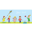 Kids playing - funny banner vector