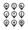 Mapping pins icon food and drink vector