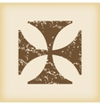 Grungy maltese cross icon vector