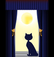 Cat silhouette sitting on window sill looking out vector