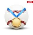 Sport gold medal with ribbon for winning baseball vector