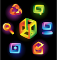 Magic icons on black background vector