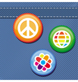 Jeans texture with hippie pins vector