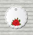 Card with red rose for valentine day on wooden vector