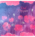Waterolor red poppies on purpure background vector