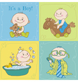 Baby boy arrival card or baby shower card vector