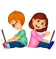 Cartoon happy boy and girl operating laptop vector