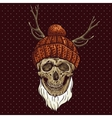 Christmas hipster skull winter vector