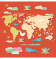 Retro paper world map on red background vector