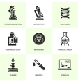 Set of black chemistry icons vector