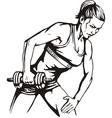 Pretty young woman lifting dumbbells - vector