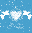 Merry christmas card with deer and ball heart vector