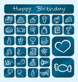 Birthday icons chalk drawing style vector