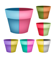 Collection of ceramic flower pots on white backgro vector