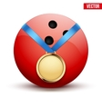 Sport gold medal with ribbon for winning bowling vector