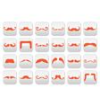 Ginger moustache or mustache buttons set vector