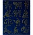 Golden zodiac signs vector