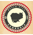 Vintage label-sticker cards of cambodia vector