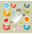 Set of colorful retro paper discount labels tags vector