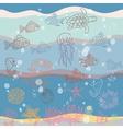 Marine life in waves vector