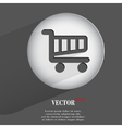 Basket flat modern web button with long shadow and vector