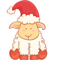 Cartoon sheep wearing santa hat vector
