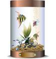 Cylindric bronze aquarium vector