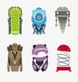 Set robots isolated on a white background vector