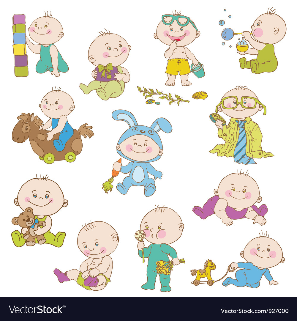 Baby boy doodle set vector | Price: 3 Credit (USD $3)