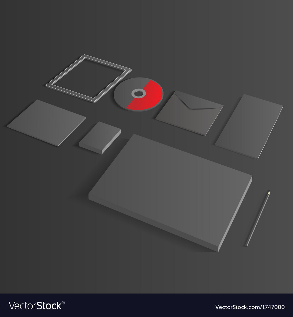 Blank corporate set isolated on black mock up vector | Price: 1 Credit (USD $1)