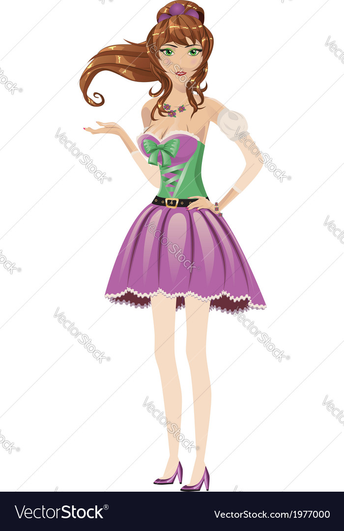 Brunette in purple dress vector | Price: 1 Credit (USD $1)