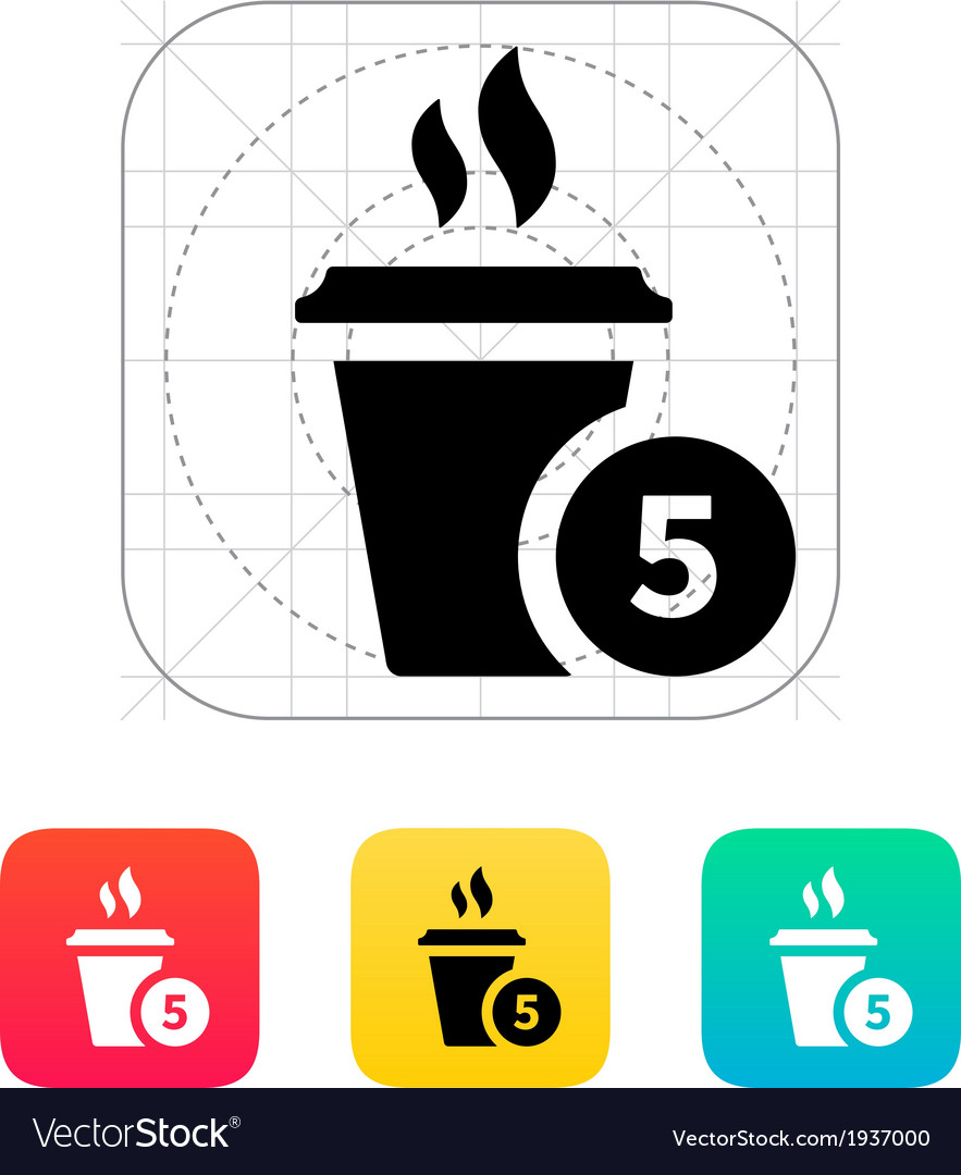 Coffe cup with number icon vector | Price: 1 Credit (USD $1)
