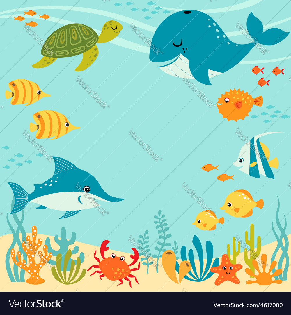 Cute underwater design vector | Price: 1 Credit (USD $1)
