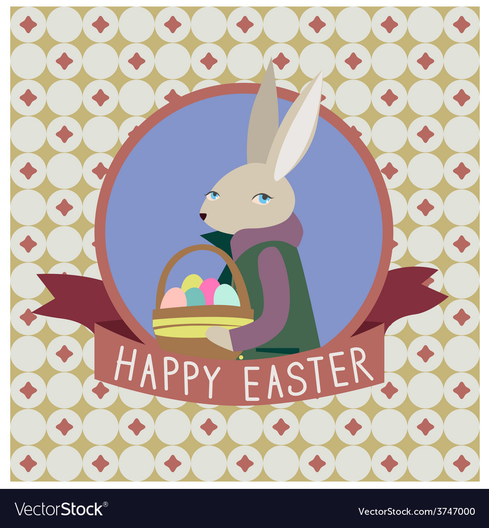 Happy easter design with grey rabbit vector | Price: 1 Credit (USD $1)