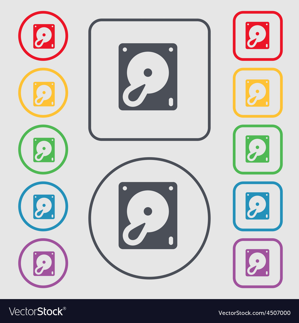 Hard disk and database icon sign symbol on the vector | Price: 1 Credit (USD $1)