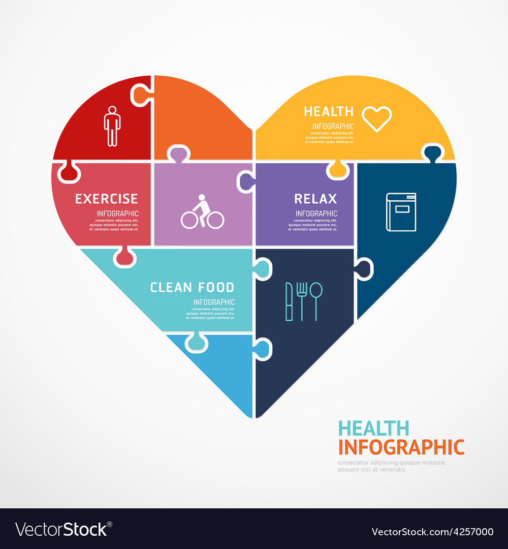 Infographic template with heart shape jigsaw vector | Price: 3 Credit (USD $3)