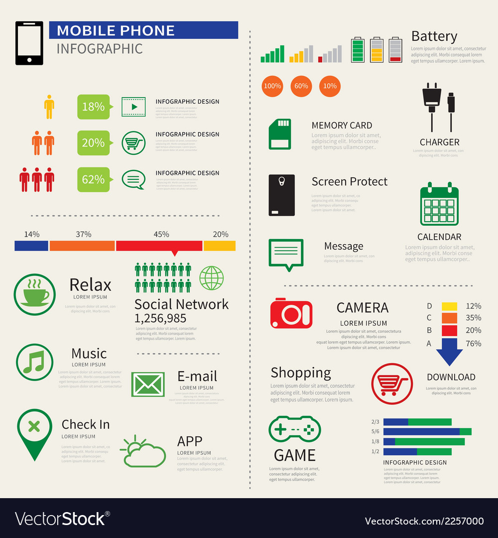 Mobile smart phone infographic vector | Price: 1 Credit (USD $1)