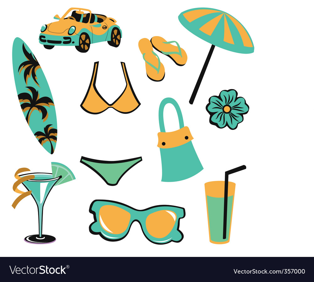 Summer items vector | Price: 1 Credit (USD $1)