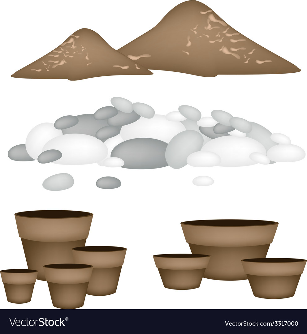 Terracotta flower pots with soil and pebble vector | Price: 1 Credit (USD $1)