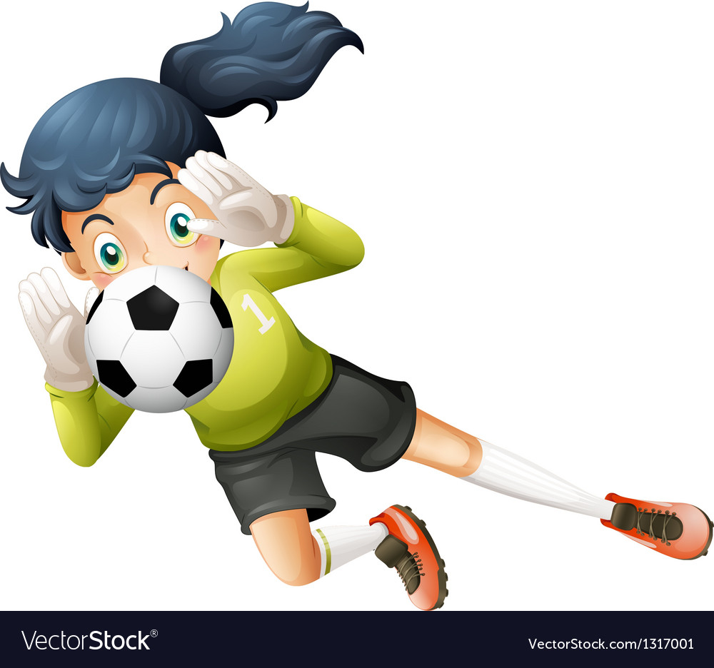 A girl catching the soccer ball vector | Price: 1 Credit (USD $1)