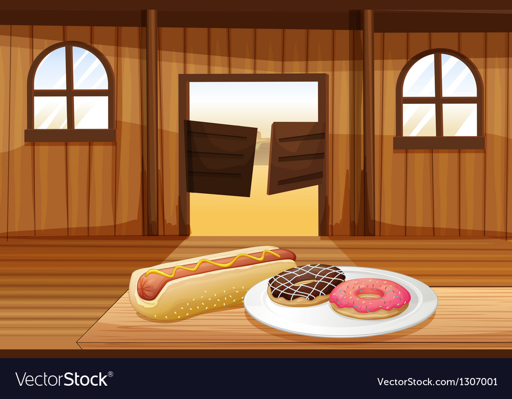 A saloon bar with foods in the table vector | Price: 1 Credit (USD $1)