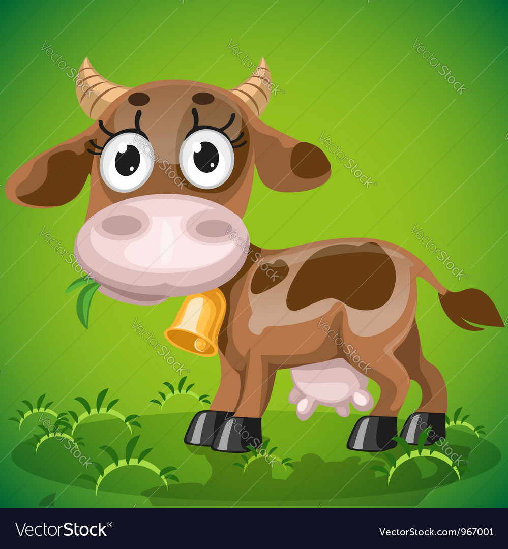 Cute baby cow chewing on a juicy grass vector | Price: 3 Credit (USD $3)