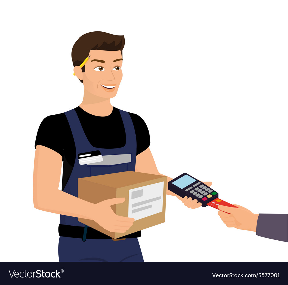 Delivery service and payment by credit card vector | Price: 1 Credit (USD $1)