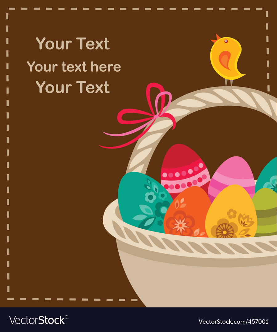 Easter eggs with basket vector | Price: 1 Credit (USD $1)