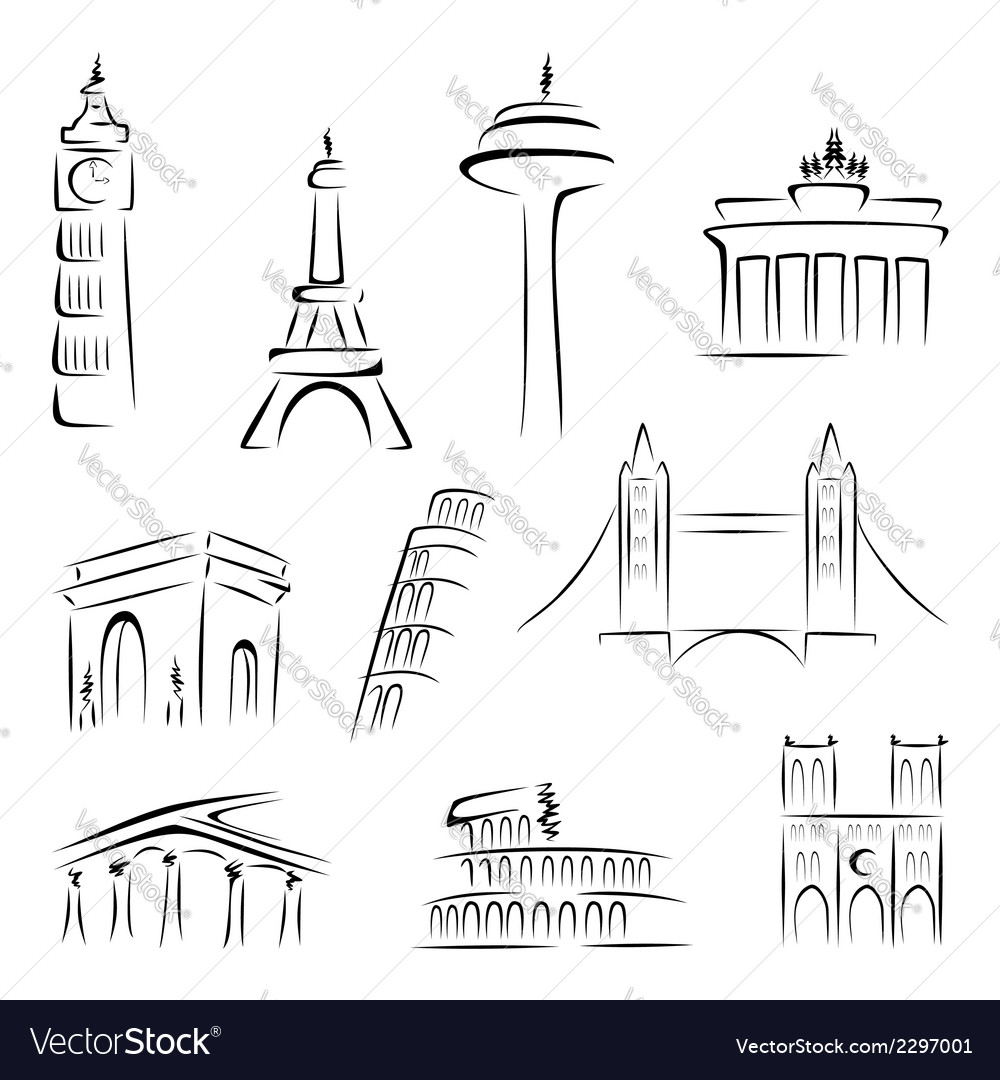 Famous buildings vector | Price: 1 Credit (USD $1)