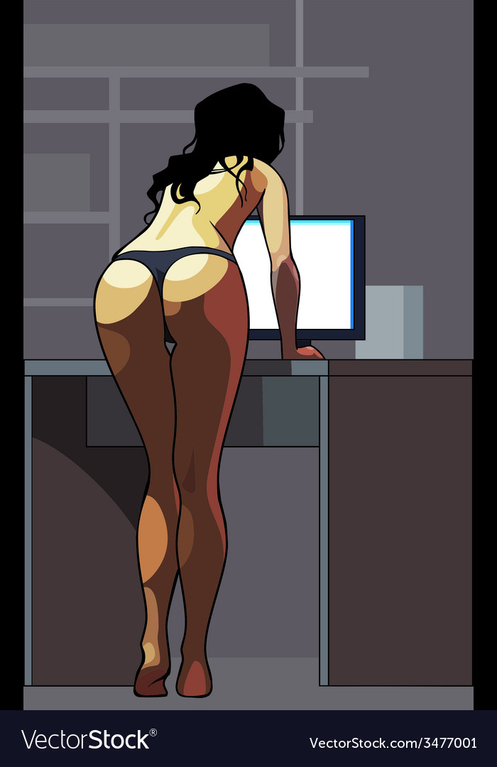 Girl in a thong standing at the monitor rear view vector | Price: 1 Credit (USD $1)