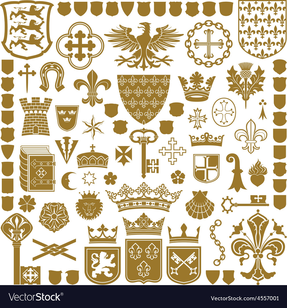 Heraldry symbols and decorations vector | Price: 1 Credit (USD $1)
