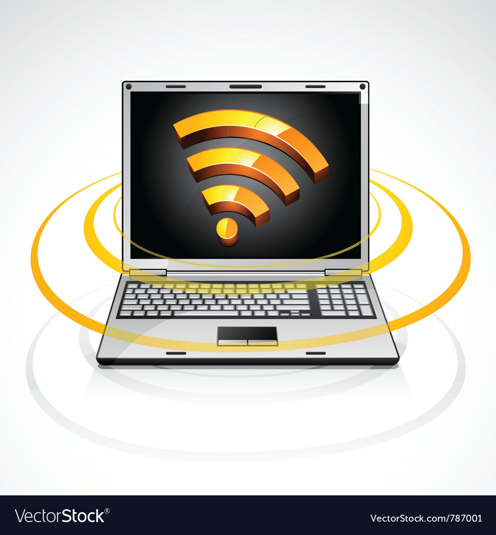 Laptop with rss feed symbol vector | Price: 3 Credit (USD $3)
