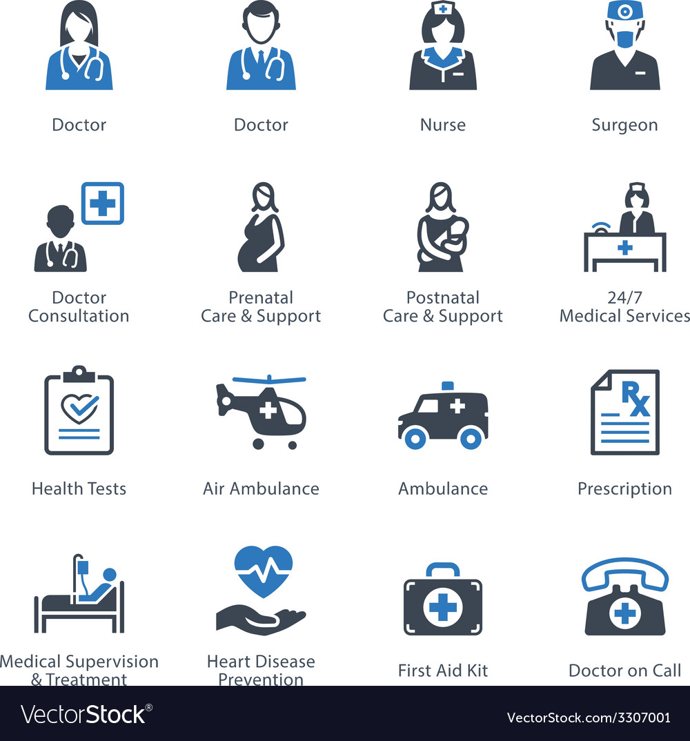 Medical health and care icons set 1 - services vector | Price: 1 Credit (USD $1)