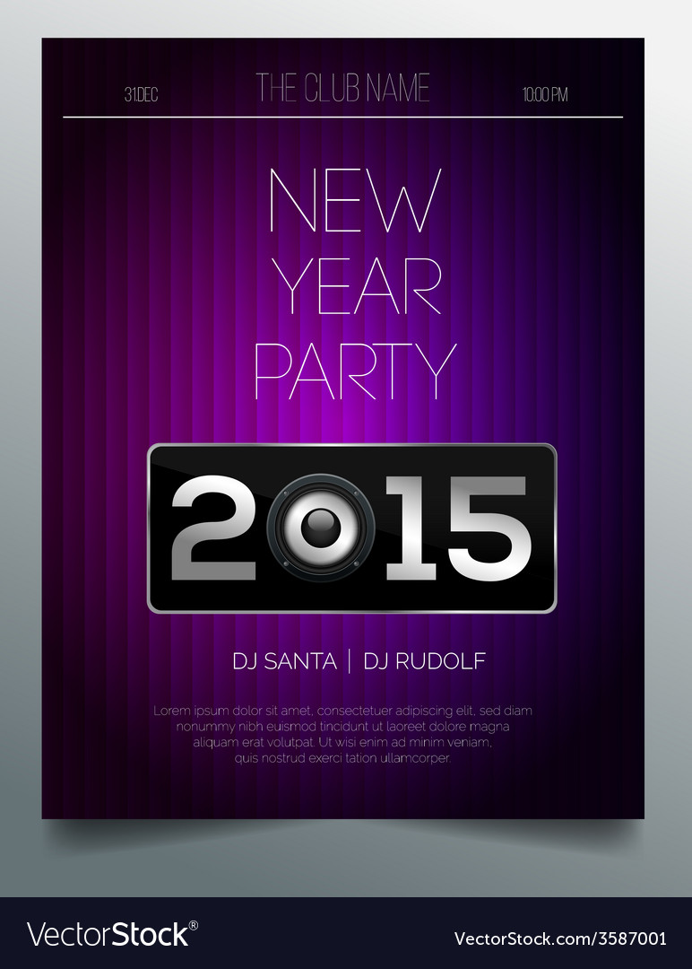 New year party flyer template - purple and silver vector | Price: 1 Credit (USD $1)